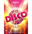 Disco party poster Background party with disco vector image