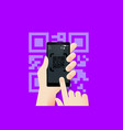 hand holding smartphone with conceptual qr code vector image