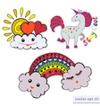 set with funny unicorn and clouds vector image