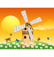 A wooden windmill at the garden vector image