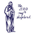 jesus christ son of god holding a lamb in his vector image