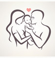happy family stylized symbol young parents and vector image