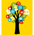Social media networks tree vector image vector image