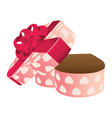 Opened empty heart shaped gift box vector image