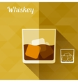 with glass of whiskey in flat design style vector image vector image