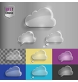Collection of glass speech bubble cloud icons with vector image
