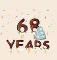68 years happy birthday card vector image