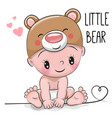 cute cartoon baby boy in a bear hat vector image