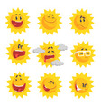 cute cartoon sun emojis emotional face set of vector image