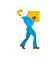 delivery man with cardboard box vector image
