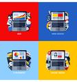 flat concepts of SEO web design e-business media vector image