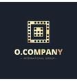 metal style geometric O letter logo vector image
