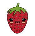 strawberry fresh kawaii character vector image