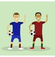 Two soccer players in Euro 2016 finalists vector image