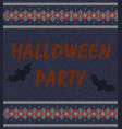 words halloween party on the background of knitted vector image