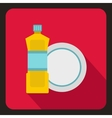 Bottle of dish soap and clean dish icon flat style vector image