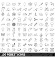 100 forest icons set outline style vector image