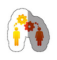 sticker colorful pictogram man and woman with vector image