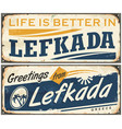 Lefkada vintage tin sign vector image