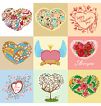 heart shapes set vector image vector image
