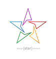 Abstract rainbow thin star design element on white vector image