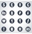 black currency symbols icon set vector image