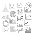 Charts bars and graphs icons sketches vector image
