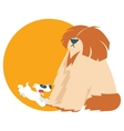cute puppy run with shaggy dog vector image