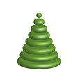 green christmas tree 3d glossy object with vector image