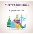 happy Hanukkah and merry christmas vector image