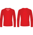 red v neck long sleeve t shirt vector image
