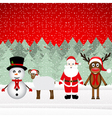Santa Claus reindeer snowman and sheep vector image