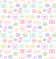 Colorful outline phrases repeat pattern on white vector image vector image