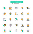Flat Line Color Icons Power and Energy vector image