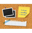 cork board with blank torn paper piece photos and vector image