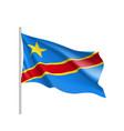 democratic republic of the congo realistic flag vector image
