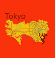 flat japan tokyo - top view map showing streets vector image