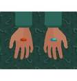 Hands with the red and blue pills vector image
