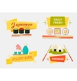 Japanese sushi and rolls wooden chopsticks vector image
