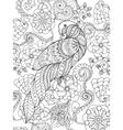 Parrot in fantasy garden vector image