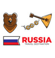 russia travel symbols for russian tourist and vector image