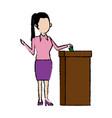 woman putting a ballot into a voting box vector image
