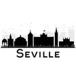 Seville City skyline black and white silhouette vector image