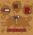 lumberjack flat concept icons vector image