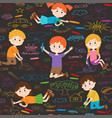 seamless pattern with child art on asphalt vector image