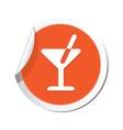 cocktail simbol orange tag vector image vector image