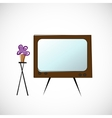 Old TV and flowers in a pot vector image