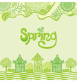 Spring nature pattern background houses vector image