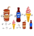 Cartoon soda bottle cup and ice cream vector image