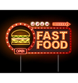 Fast Food Neon sign vector image